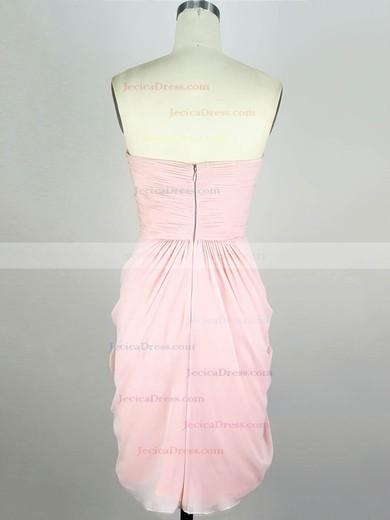 Chiffon Sheath/Column Sweetheart Short/Mini with Pleats Prom Dresses #JCD020104139