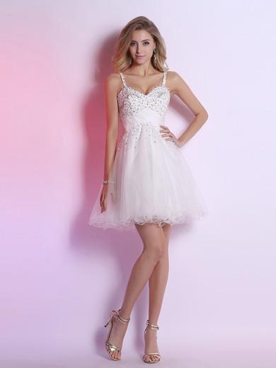 White Tulle Straps Short/Mini with Beading Modest Prom Dresses #JCD02051653