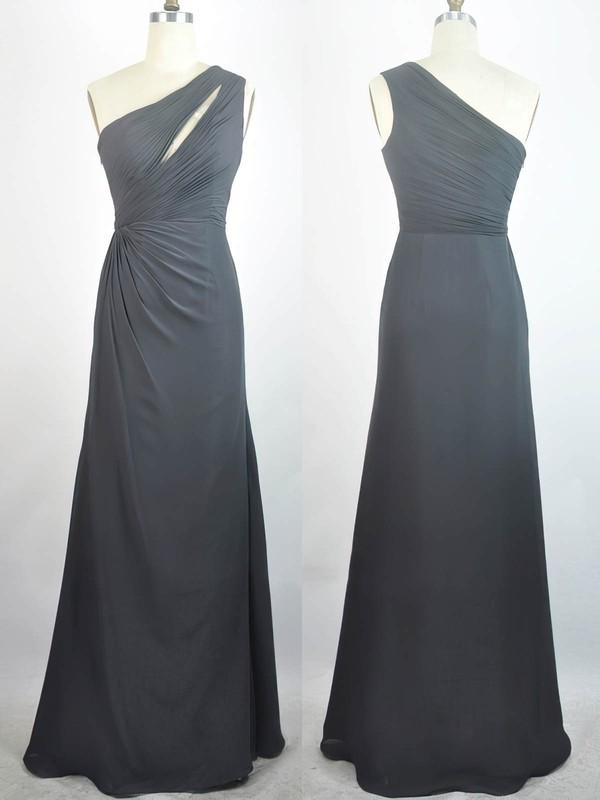 Chiffon Sheath/Column One Shoulder Floor-length with Pleats Prom Dresses #JCD020104300
