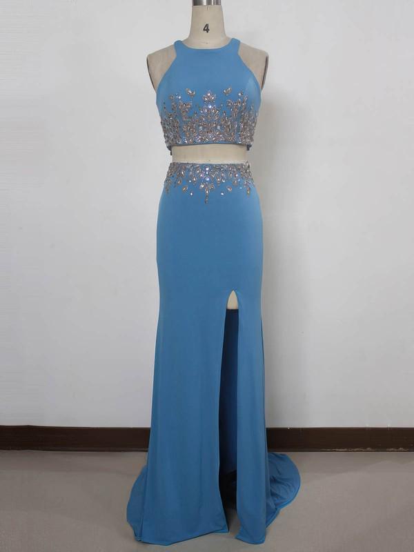 Silk-like Satin Trumpet/Mermaid Scoop Neck Sweep Train with Split Front Prom Dresses #JCD020104332