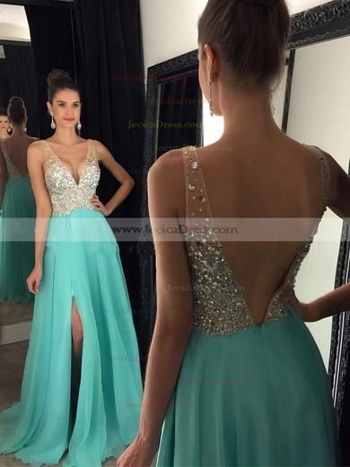 Pink A-line V-neck Chiffon Split Front with Beading Prom Dress #JCD020104583