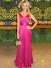 Trumpet/Mermaid V-neck Fuchsia Satin with Sashes / Ribbons Floor-length Prom Dress #JCD020104610