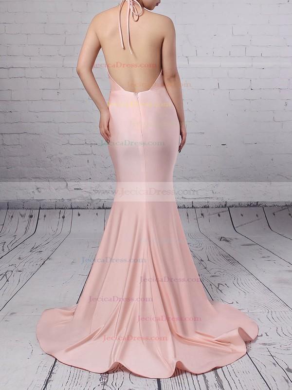 Pink Trumpet/Mermaid Halter Silk-like Satin Sweep Train Prom Dress #JCD020104609