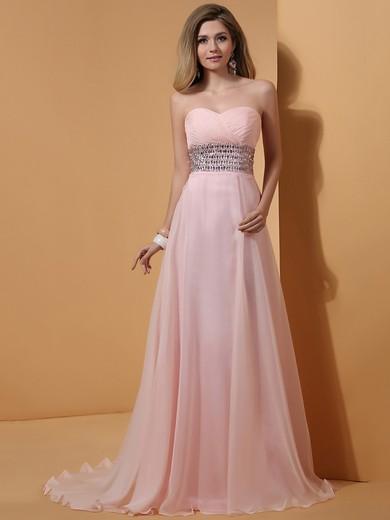 Pink Chiffon A-line Beading Sweetheart Top Prom Dress #JCD02014336