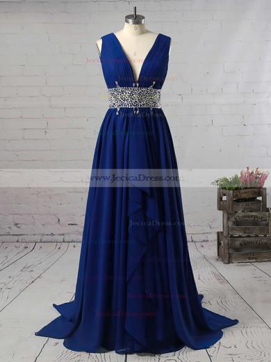 Light Sky Blue A-line V-neck Chiffon Cascading Ruffles Sweep Train Prom Dress #JCD020104606