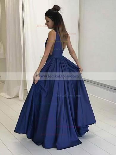 Navy A-line V-neck Satin with Ruffles Floor-length Prom Dress #JCD020104605