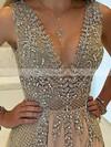Luxury A-line V-neck Chiffon with Beading Floor-length Prom Dress #JCD020104604