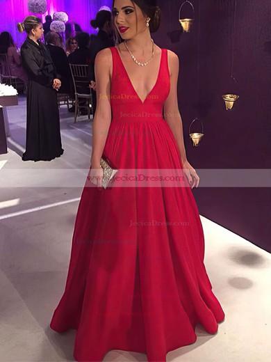 Elegant Red Ball Gown V-neck Satin Floor-length Prom Dress #JCD020104603