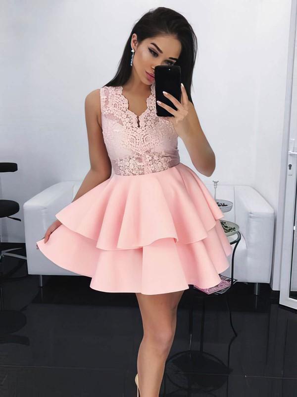Lace Satin Ball Gown V-neck Short/Mini Lace Prom Dresses #JCD020106284
