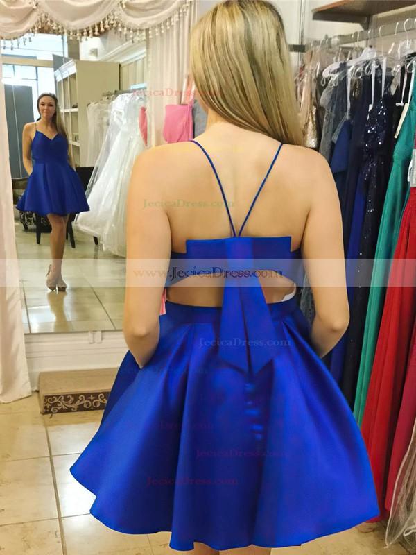 Satin A-line V-neck Short/Mini Bow Prom Dresses #JCD020106285