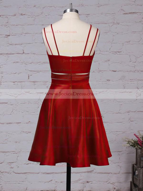 Satin A-line V-neck Short/Mini Pockets Prom Dresses #JCD020106288