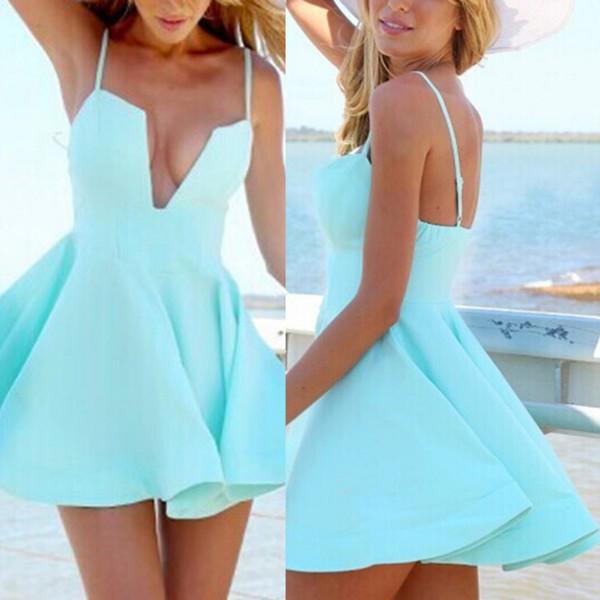 Satin A-line V-neck Short/Mini Prom Dresses #JCD020106293