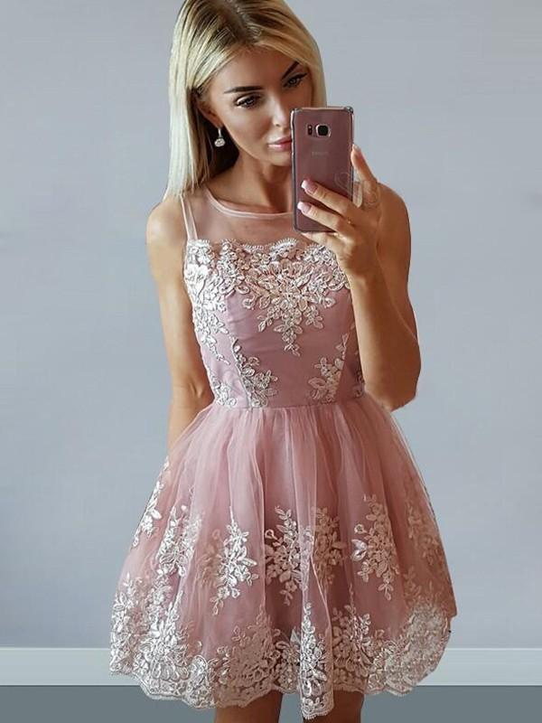 Tulle A-line Scoop Neck Short/Mini Appliques Lace Prom Dresses #JCD020106296