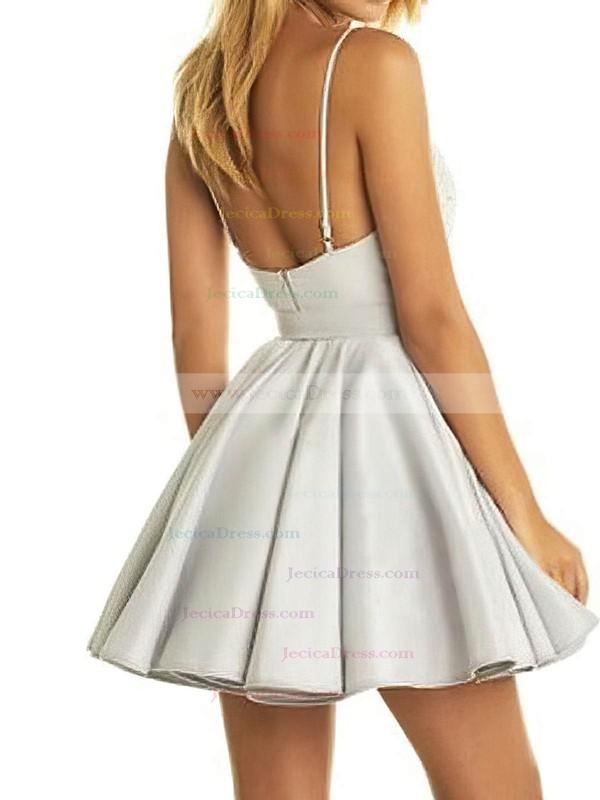 Satin A-line V-neck Short/Mini Lace Prom Dresses #JCD020106298