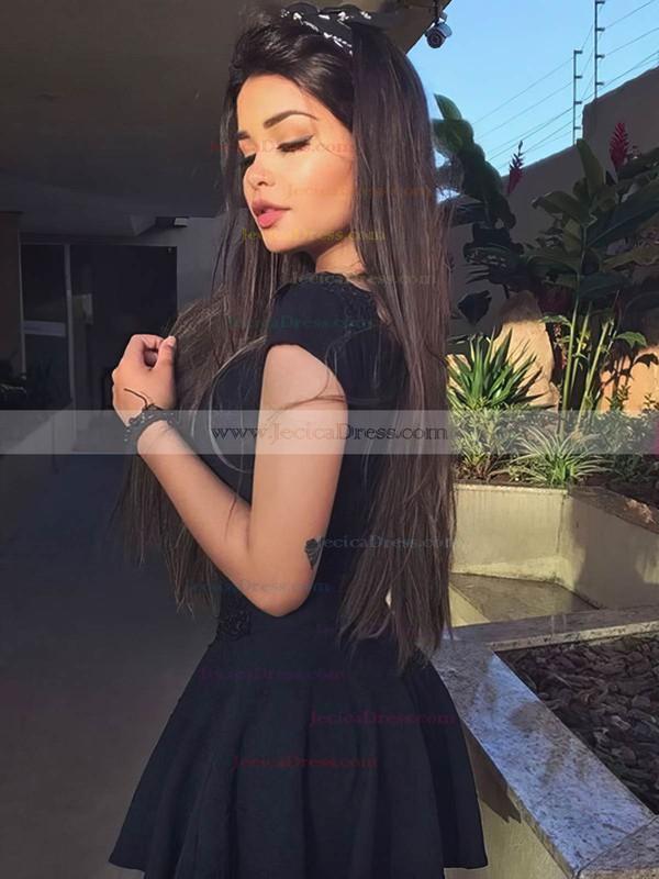 Satin A-line V-neck Short/Mini Appliques Lace Prom Dresses #JCD020106300