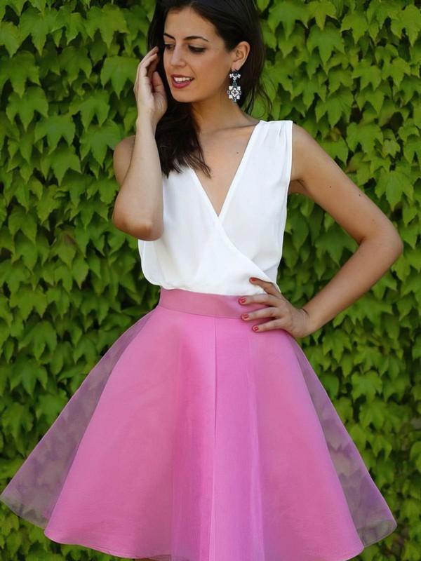 Organza A-line V-neck Short/Mini Prom Dresses #JCD020106310