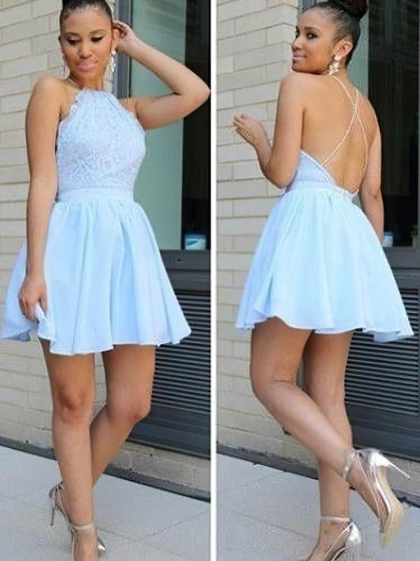 Chiffon A-line Halter Short/Mini Lace Prom Dresses #JCD020106312