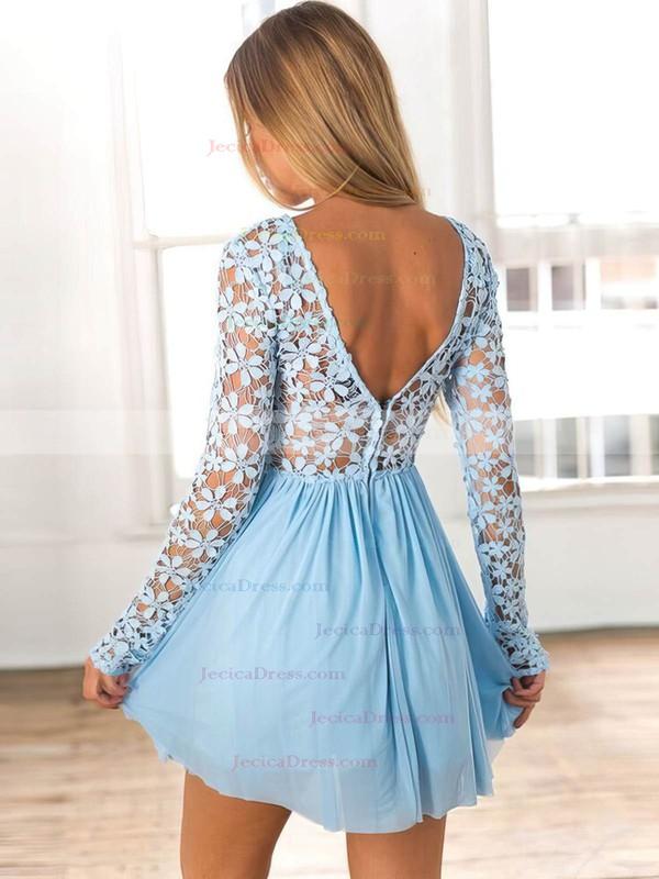 Lace Chiffon A-line Scoop Neck Short/Mini Lace Prom Dresses #JCD020106314
