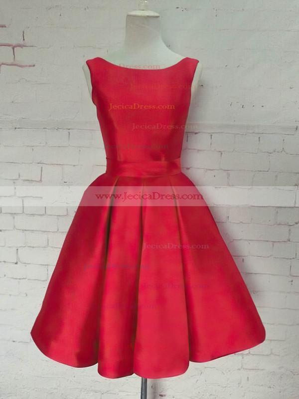 Satin Princess Scoop Neck Knee-length Bow Prom Dresses #JCD020106315