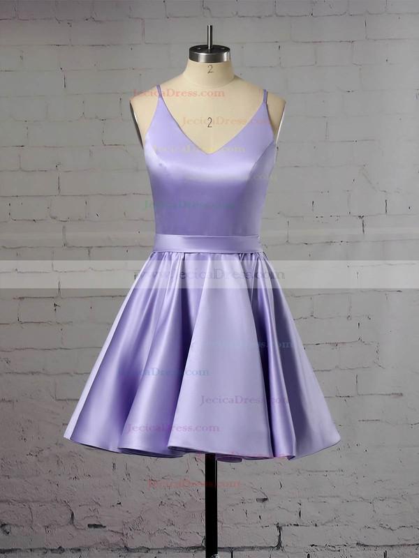 Satin A-line V-neck Short/Mini Prom Dresses #JCD020106321