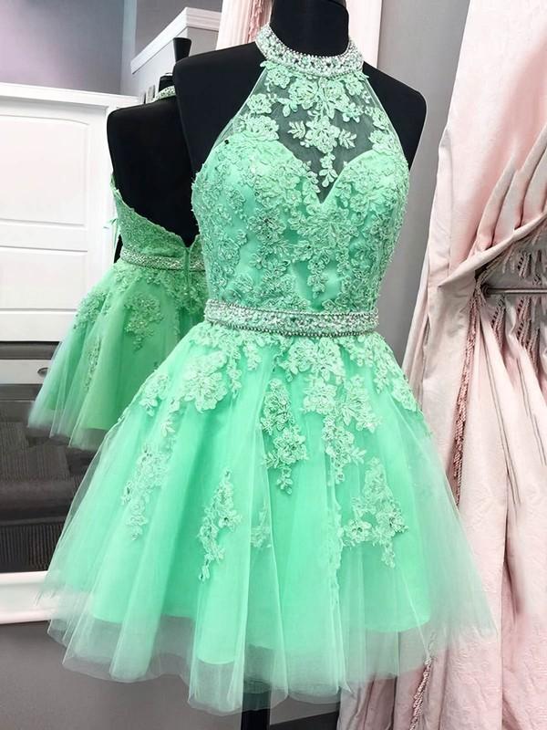 Tulle A-line Halter Short/Mini Beading Prom Dresses #JCD020106322