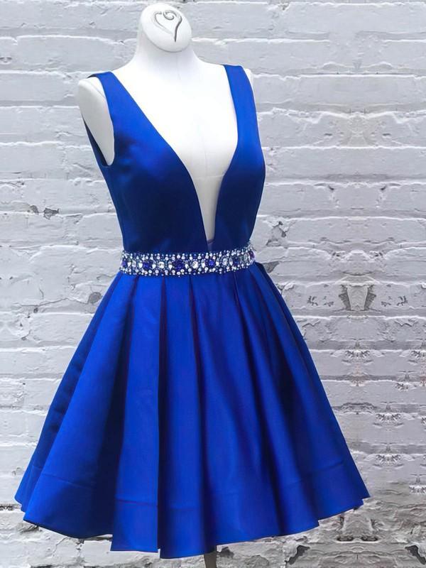 Satin A-line V-neck Short/Mini Beading Prom Dresses #JCD020106323