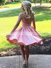 Satin Tulle A-line Scoop Neck Short/Mini Beading Prom Dresses #JCD020106324