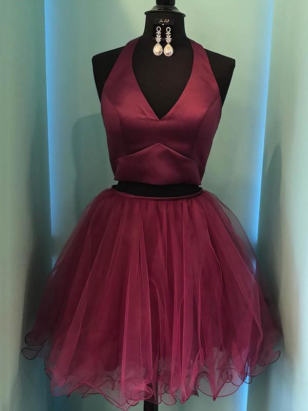 Satin Tulle Ball Gown Halter Short/Mini Prom Dresses #JCD020106326