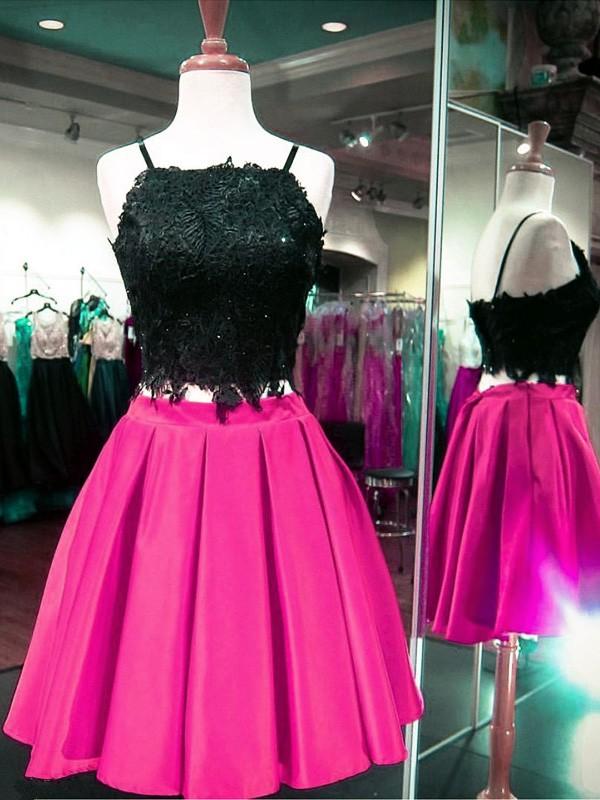 Satin A-line Square Neckline Short/Mini Beading Prom Dresses #JCD020106330