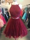 Lace Tulle Princess Halter Short/Mini Beading Prom Dresses #JCD020106333
