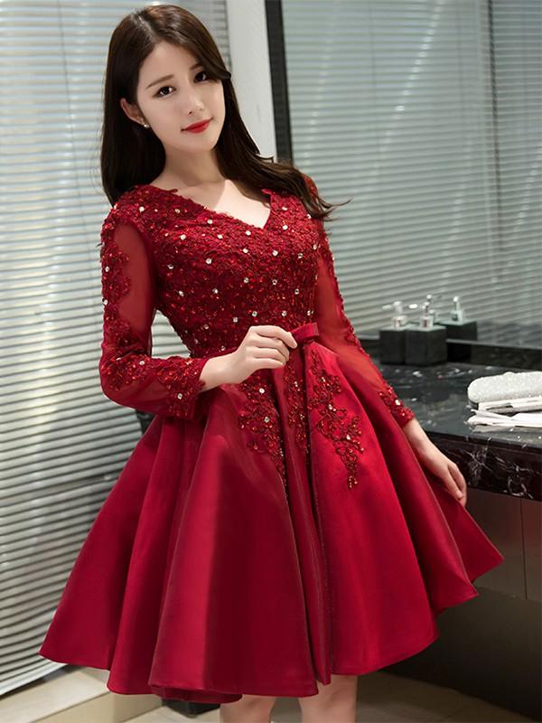 Satin Tulle Princess V-neck Short/Mini Appliques Lace Prom Dresses #JCD020106340