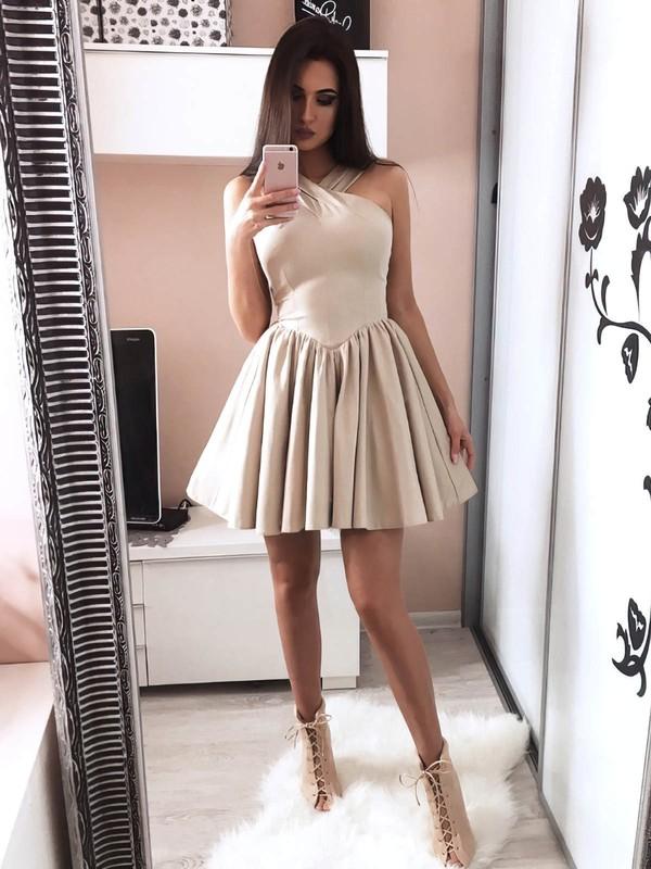 Silk-like Satin A-line V-neck Short/Mini Prom Dresses #JCD020106344