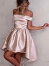 Satin A-line Off-the-shoulder Asymmetrical Ruffles Prom Dresses #JCD020106345