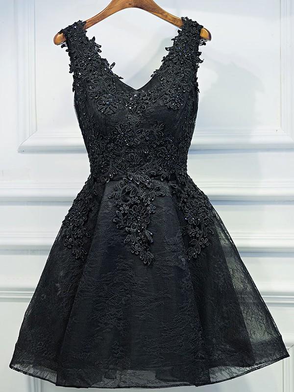 Lace A-line V-neck Short/Mini Appliques Lace Prom Dresses #JCD020106346