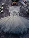 Tulle Princess Scoop Neck Short/Mini Appliques Lace Prom Dresses #JCD020106350