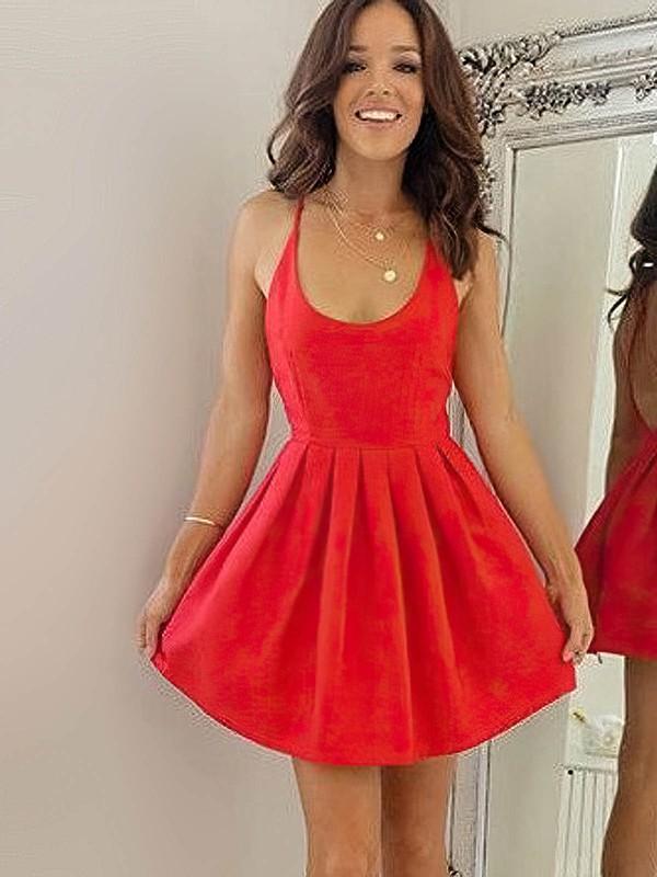 Silk-like Satin A-line Scoop Neck Short/Mini Ruffles Prom Dresses #JCD020106354