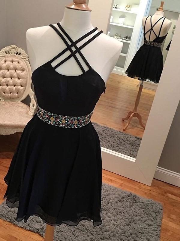 Chiffon A-line V-neck Short/Mini Beading Prom Dresses #JCD020106355