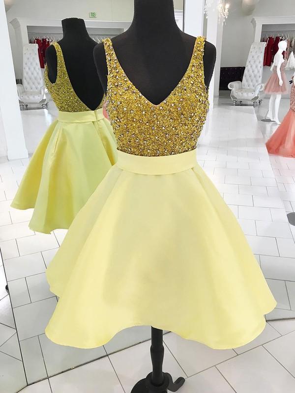 Satin Princess V-neck Short/Mini Beading Prom Dresses #JCD020106358