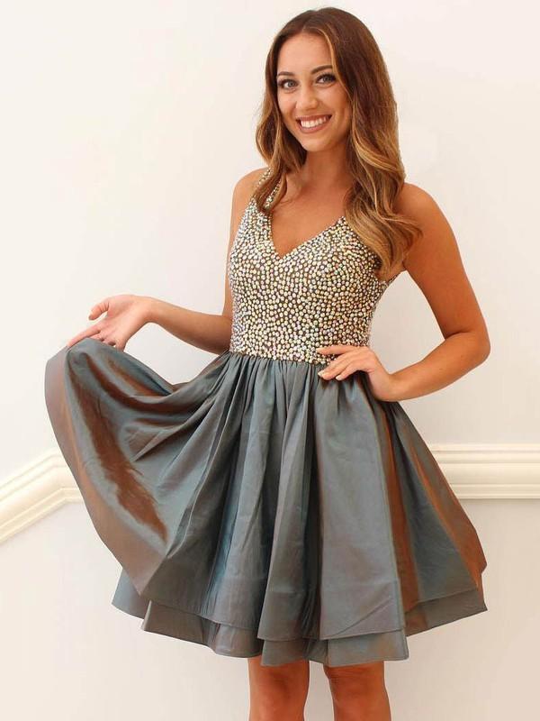 Taffeta A-line V-neck Short/Mini Beading Prom Dresses #JCD020106368