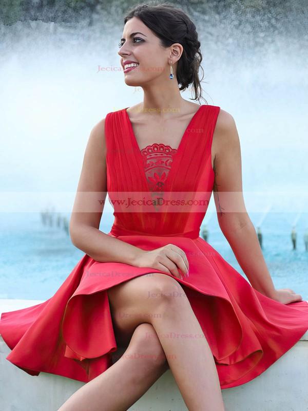 Satin A-line V-neck Short/Mini Ruffles Prom Dresses #JCD020106370