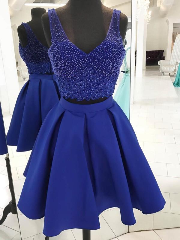 Satin Tulle A-line V-neck Short/Mini Beading Prom Dresses #JCD020106376