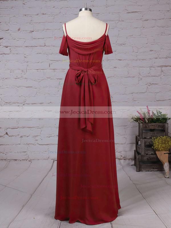 Chiffon A-line V-neck Floor-length Sashes / Ribbons Bridesmaid Dresses #JCD01013464