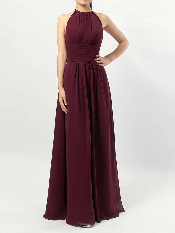 Chiffon A-line Scoop Neck Floor-length Ruffles Bridesmaid Dresses #JCD01013474