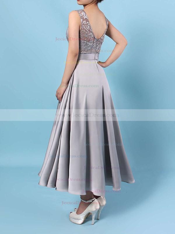 Lace Satin Chiffon A-line Scoop Neck Asymmetrical Sashes / Ribbons Bridesmaid Dresses #JCD01013476
