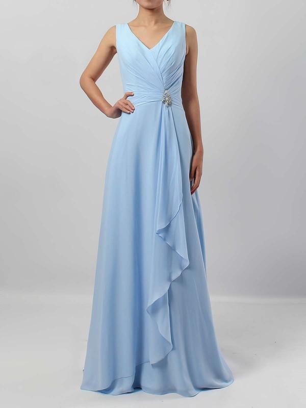 Chiffon A-line V-neck Floor-length Ruffles Bridesmaid Dresses #JCD01013499