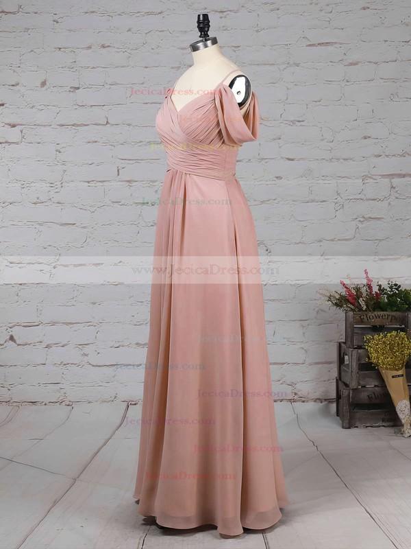 Chiffon Empire V-neck Floor-length Ruffles Bridesmaid Dresses #JCD01013507