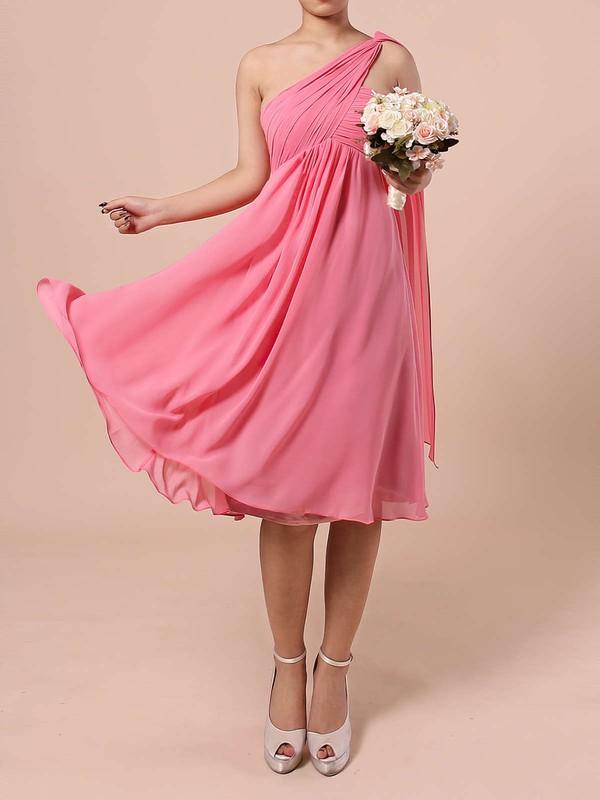 Chiffon Empire One Shoulder Knee-length Ruffles Bridesmaid Dresses #JCD01013527