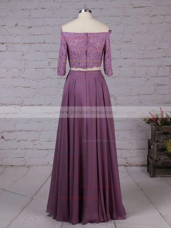 Lace Chiffon A-line Off-the-shoulder Floor-length Bridesmaid Dresses #JCD01013529