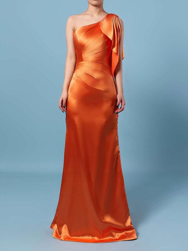 Silk-like Satin Sheath/Column One Shoulder Floor-length Ruffles Bridesmaid Dresses #JCD01013534