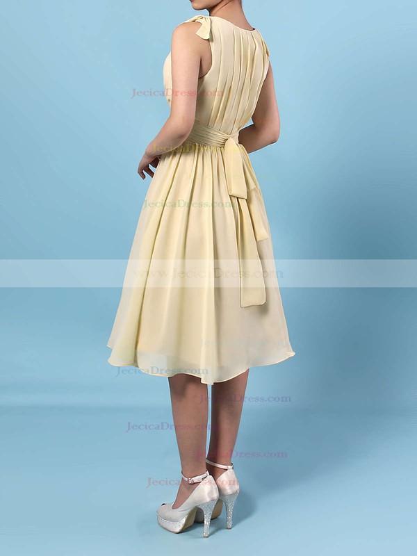 Chiffon A-line V-neck Knee-length Sashes / Ribbons Bridesmaid Dresses #JCD01013536